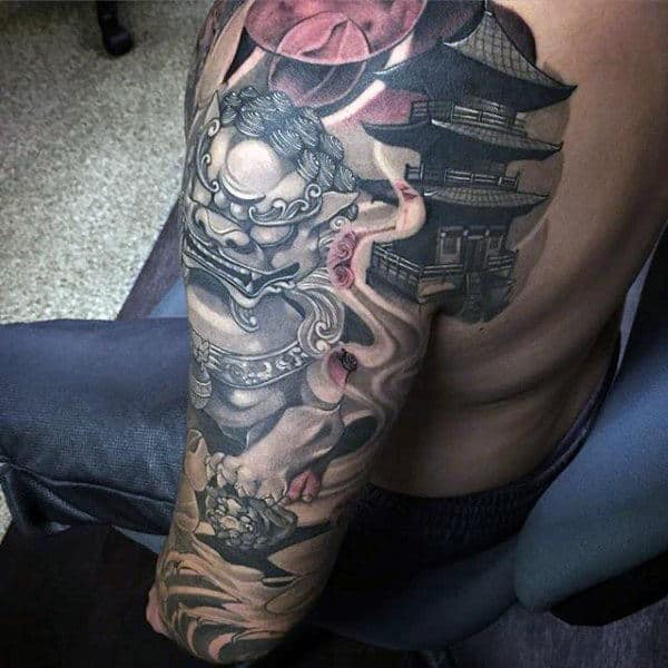 Mens Half Sleeve Foo Dog Tower Tattoo Ideas