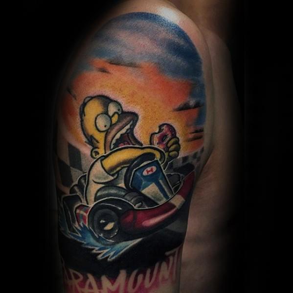 Mens Half Sleeve Go Kart Homer Simpson Tattoo Ideas