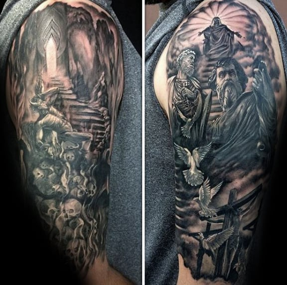 Mens Half Sleeve Heaven Tattoos