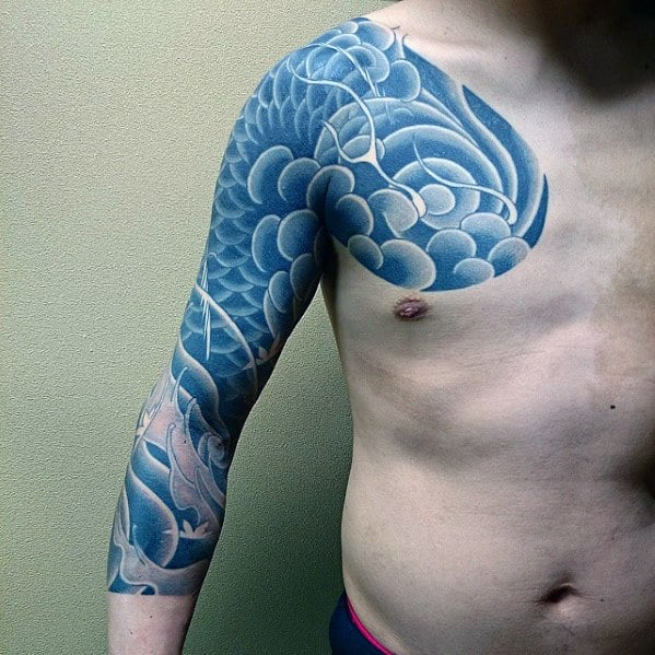 Mens Half Sleeve Japanese Cloud Tattoo