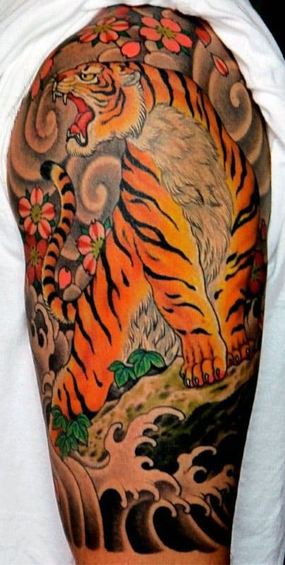 Mens Half Sleeve Japanese Tiger Traditional Tattoo Ideas