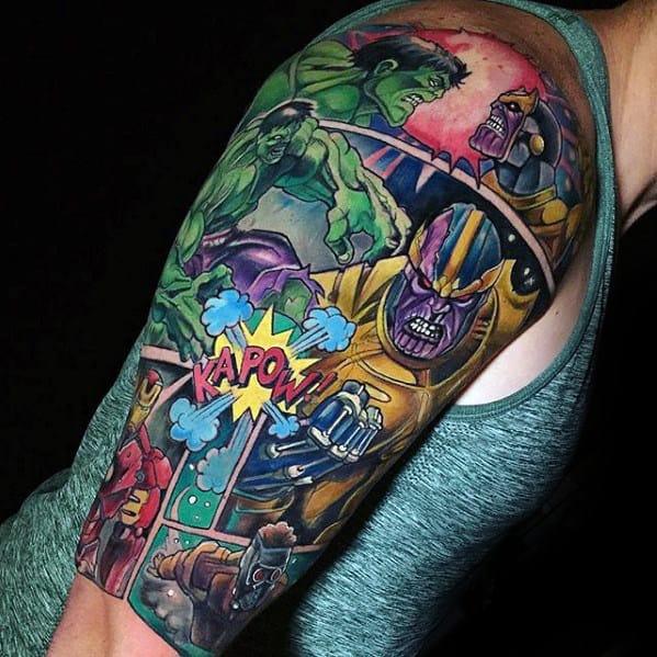 Mens Half Sleeve Marvel Comic Tattoo Ideas
