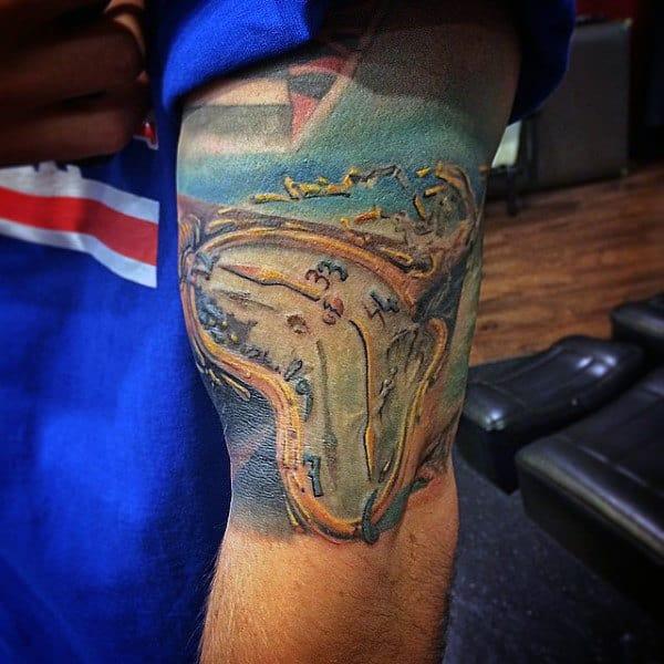 Mens Half Sleeve Melting Clock Tattoo Designs