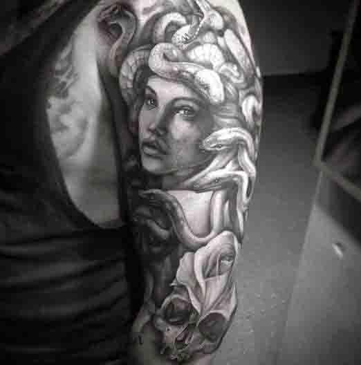 Mens Half Sleeve Mens Medusa Snakes Tattoo