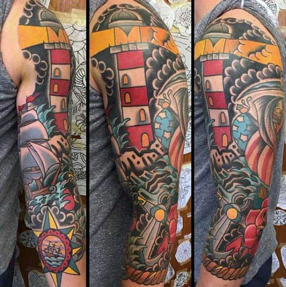 Mens Half Sleeve Nautical Traditional Tattoo Designs