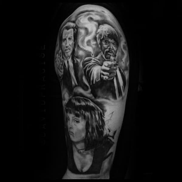 Mens Half Sleeve Pulp Fiction Themed Tattoo Inspiration