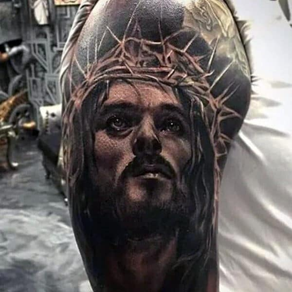 Mens Half Sleeve Realistic Jesus Portrait Tattoo