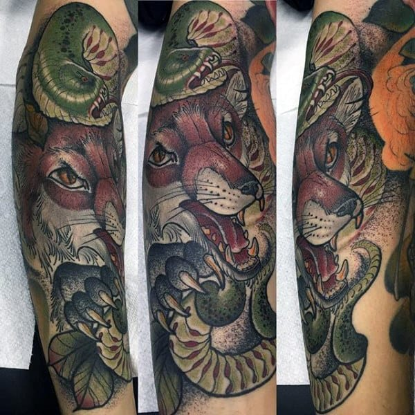 Mens Half Sleeve Roaring Fox And Green Catterpillar Tattoo