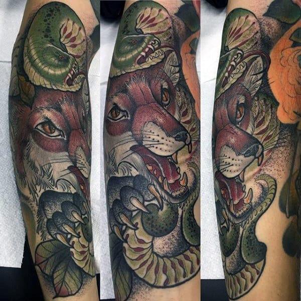 Mens Half Sleeve Roaring Fox And Green Catterpillar Tattoo
