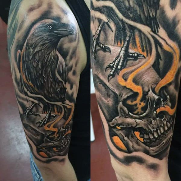 Mens Half Sleeve Skull With Crow Tattoo