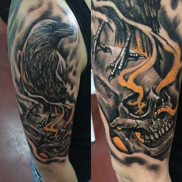 Mens Half Sleeve Skull With Crow Tattoo