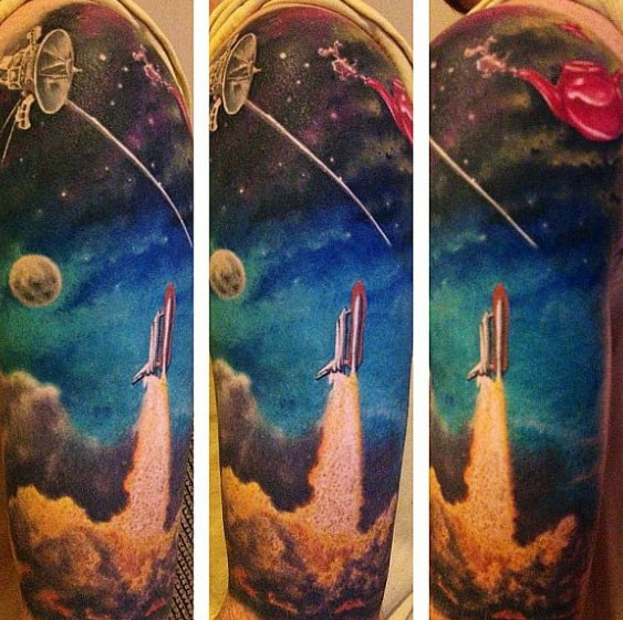 Mens Half Sleeve Spaceship Taking Off Tattoo