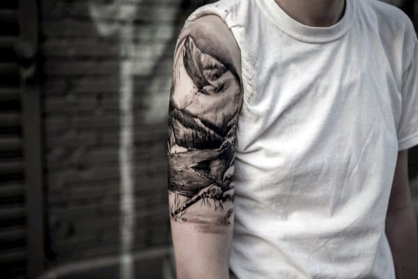 Men's Half Sleeve Tattoo Ideas Mountain