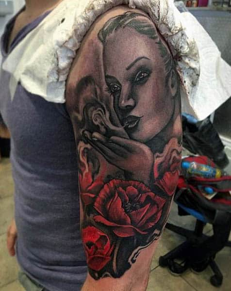 Mens Half Sleeve Tattoo Of Woman With Poppy Flowers