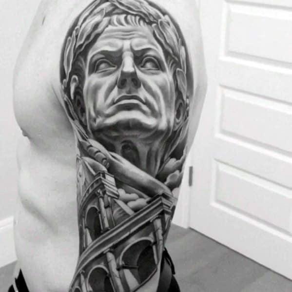 Mens Half Sleeve Tattoo Roman Statue Design