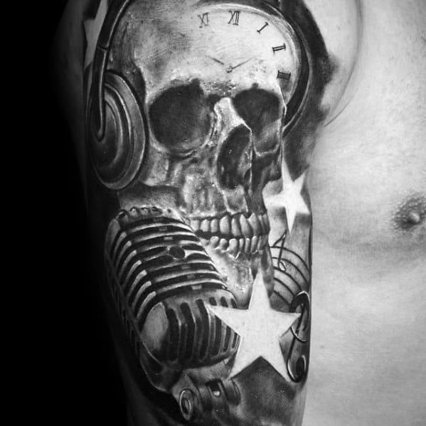 Mens Half Sleeve Tattoo Skull Headphones Design