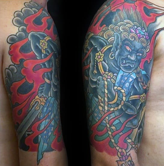Mens Half Sleeve Tattoo With Fudo Myoo Design
