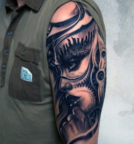 Men's Half Sleeve Tattoos Mechanical