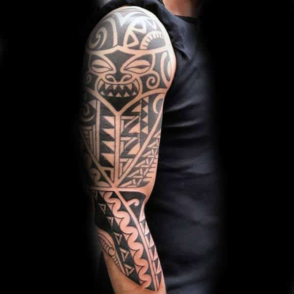 Mens Half Sleeve Tribal Tattoo Design Inspiration