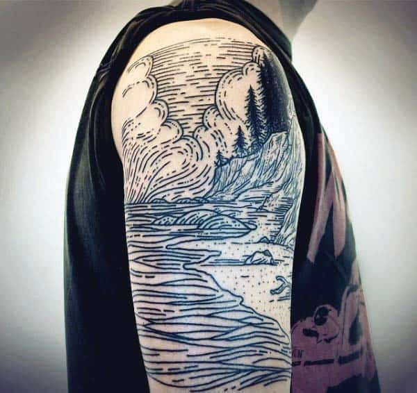 Mens Half Sleeve Woodcut Tattoo Design Ideas