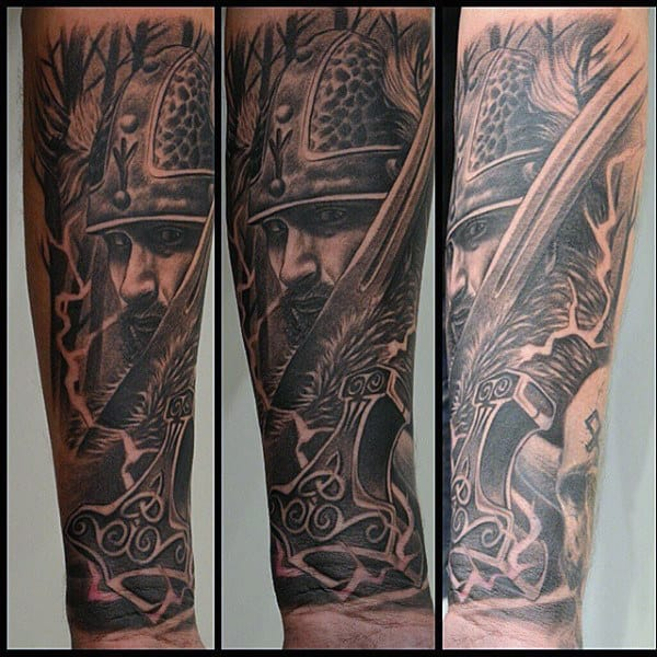 Mens Hammer Of Thor Mjolnir Forearm Sleeve Tattoos