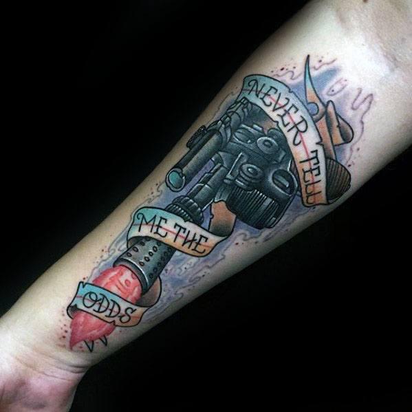 Mens Han Solo Tattoo Design Ideas On Inner Forearm