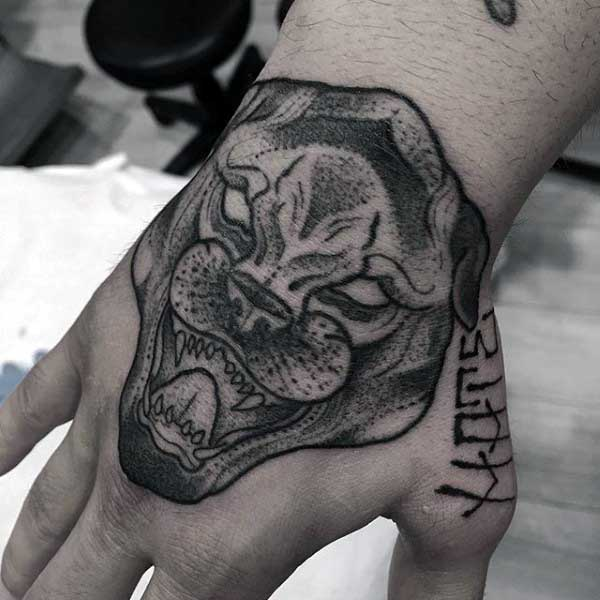 Mens Hand Black Panther Tattoos