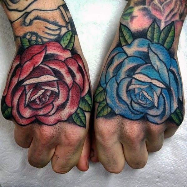 Mens Hand Blue And Red Rose Flowers Traditional Hand Tattoos