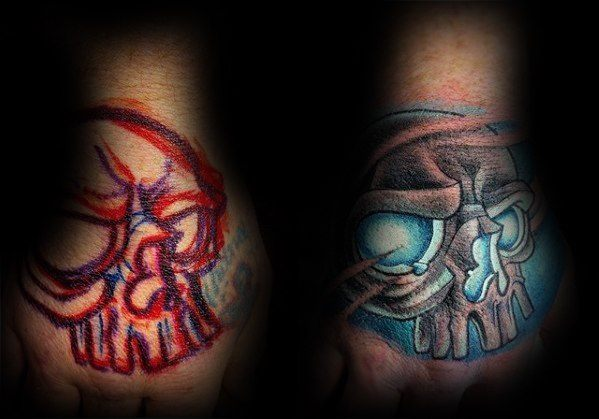 Mens Hand Glowing Blue Skull Tattoo Cover Up Ideas