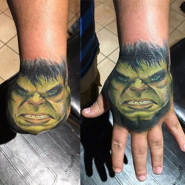 Mens Hand Hulk Tattoo