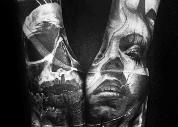 Mens Hand Realistic Skull Shaded Tattoos