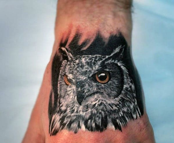 Mens Hand Realistic Tattoo Design Of Owl