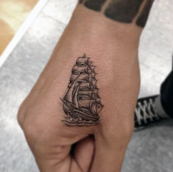 Men's Hand Ship Tattoo