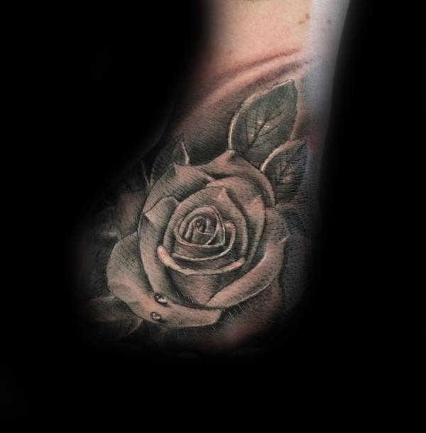 Mens Hand Tattoo Of Realistic White Rose Flower