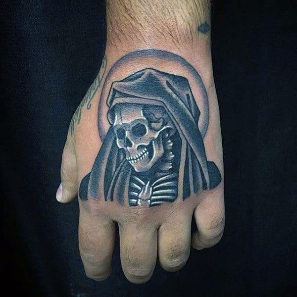 Mens Hand Tattoo Of White Ink Grim Reaper Skeleton Tattoo