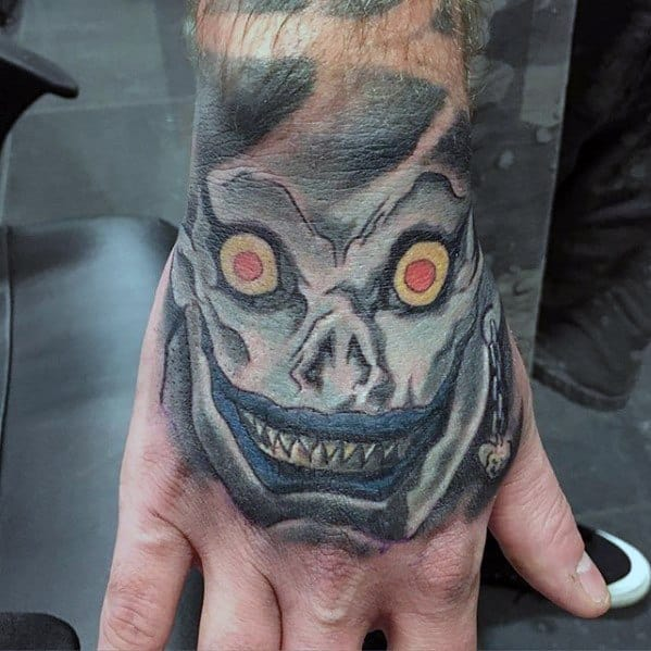 Mens Hand Tattoo With Death Note Design