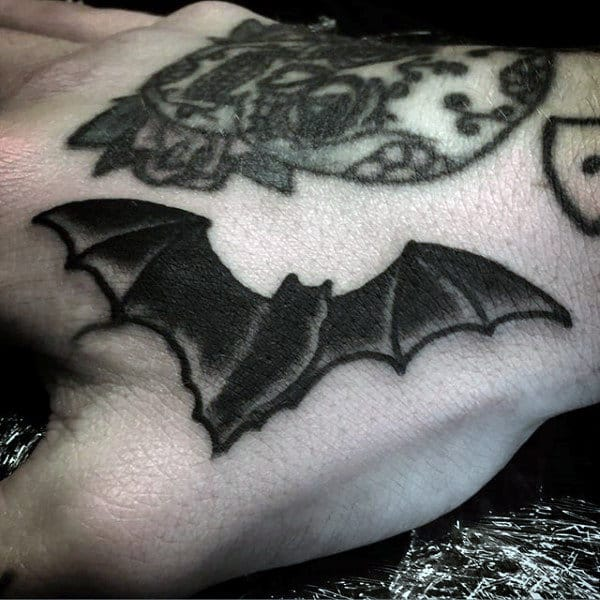 Mens Hand Tiny Halloween Black Bat Tattoo