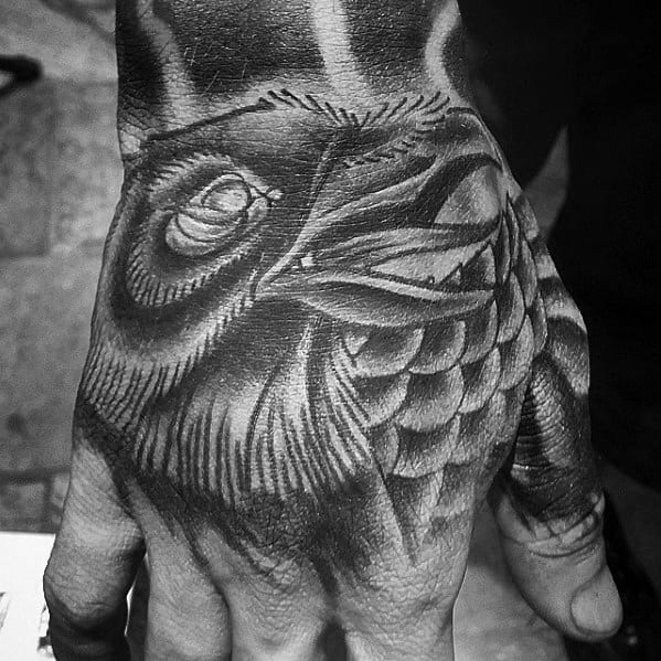 Mens Hand Traditional Crow Shaded Tattoo Ideas