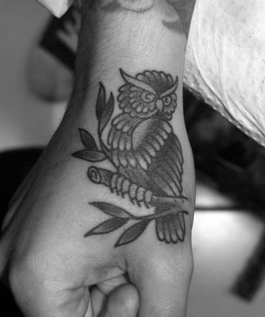 Mens Hand Traditional Owl Tattoos