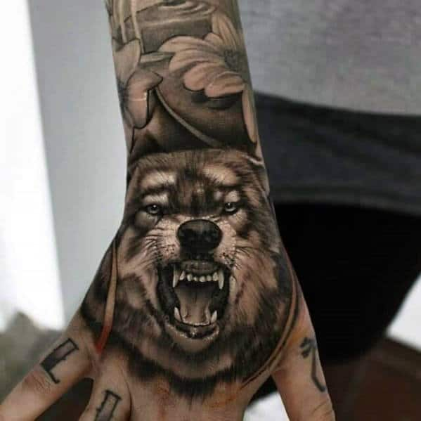 Mens Hands Angry Wolf 3d Tattoo