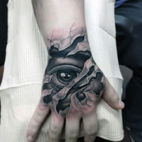 Mens Hands Black Eye Tattoo