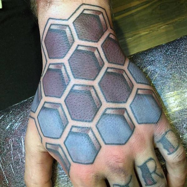 Mens Hands Dusty Blue Magenta Honeycomb Tatoo