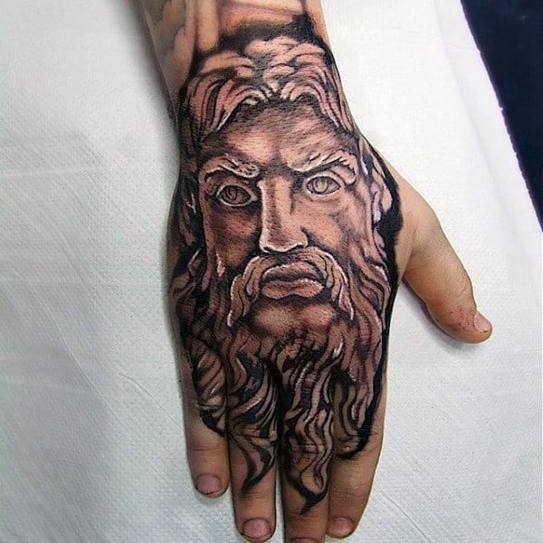 Mens Hands Greek God Tattoo Design