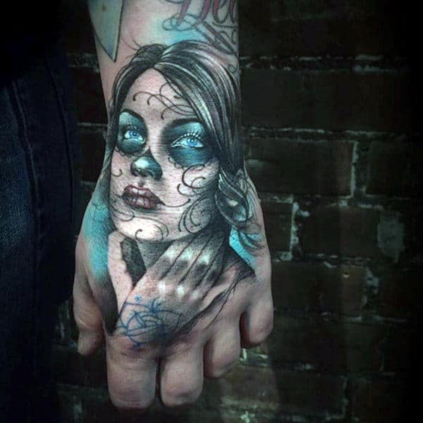 Mens Hands Lovely Day Of The Dead Tattoo With Copper Blue Blasts