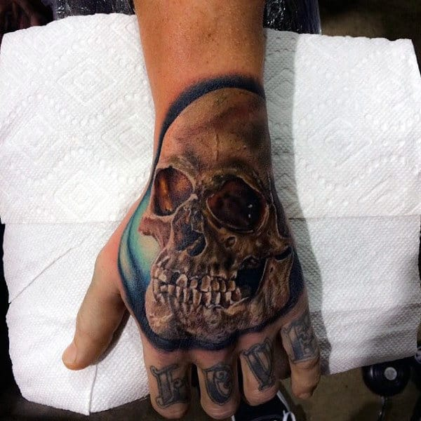 Mens Hands Skull Tattoo