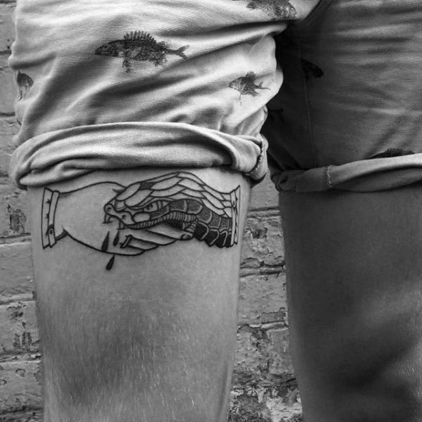 Mens Handshake Tattoo Design Inspiration On Thigh