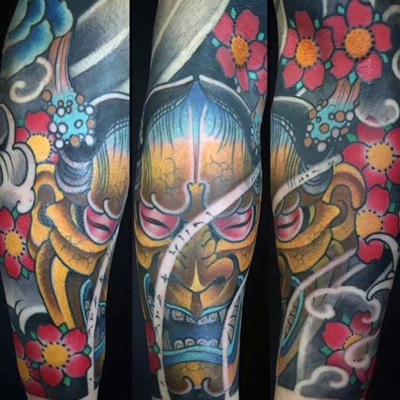 Mens Hannya Mask Mens Sleeve Tattoo With Floral Design