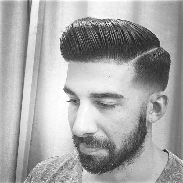 Mens Hard Part Pompadour Hairstyles For Males
