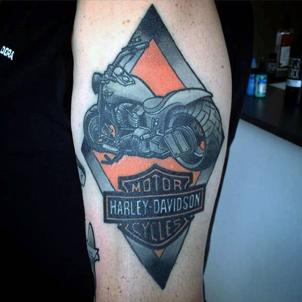 Mens Harley Davidson Arm Tattoo With Black And Orange Ink