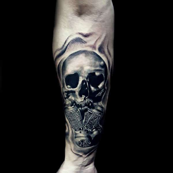 Mens Harley Davidson Skull With Motor Forearm Sleeve Tattoo
